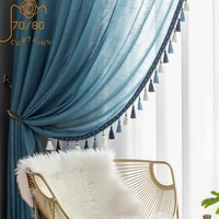american window screen curtain cotton and linen tassel curtains for bedroom living room balcony bay window finished