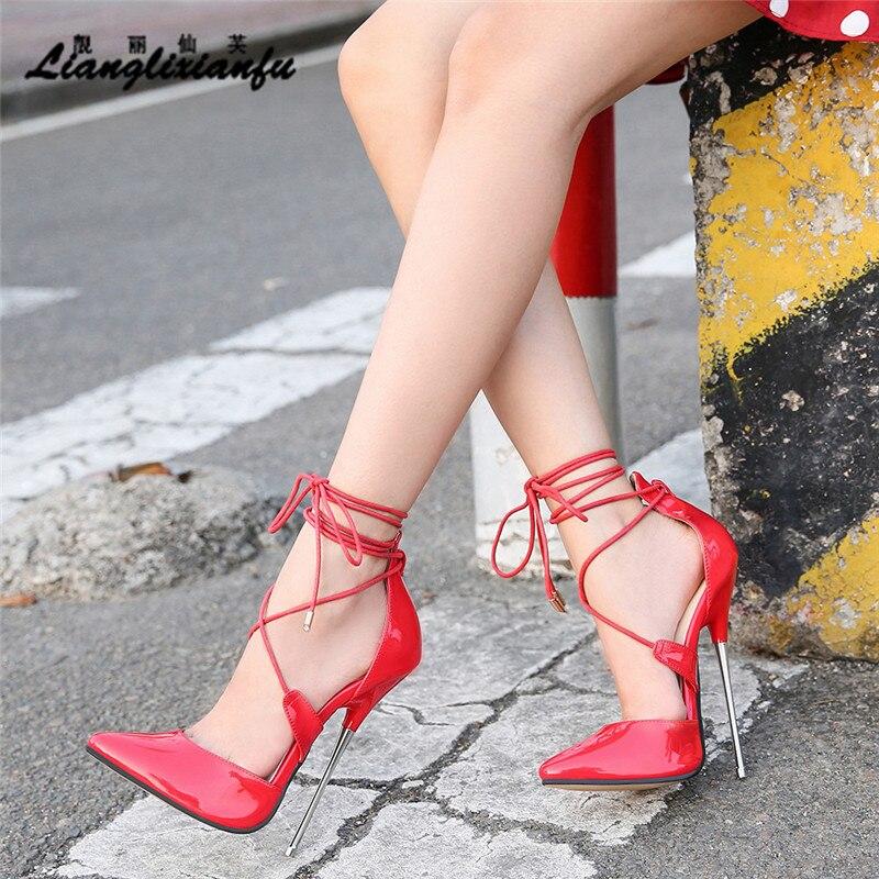 Sapatos crossdresser femininos, sapatos para mulheres, 16cm de salto fino, sandália de casamento, fivela de couro envernizado