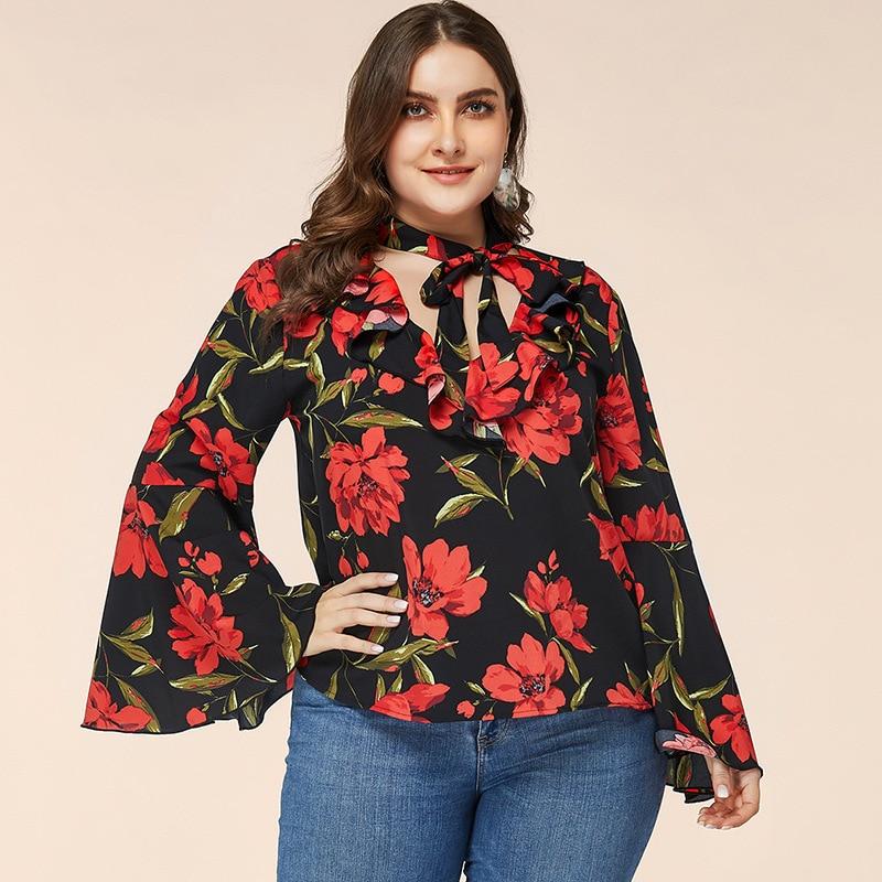 flare sleeve bow tie back blouse Modest Vintage Tunic Ladies Tunics Plus Size Spring Autumn Floral Black Shirt Bow Collar Flare Sleeve Women's Elegant Blouse