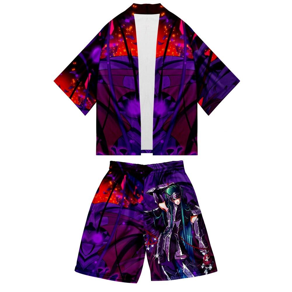 Saint Seiya cartoon unisex nueva camiseta 3D deportes Unisex traje de manga larga Camiseta tendencia Casual de manga corta Kop casual Kimono