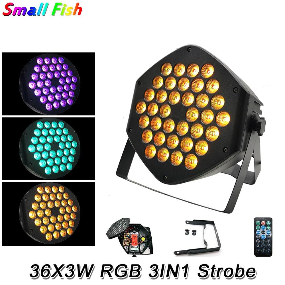 Mini 36X3W RGB 3 en 1 LED Wash Par Light DJ discoteca equipo de efectos de iluminación DMX 512 Control remoto para Paty Club boda Bar