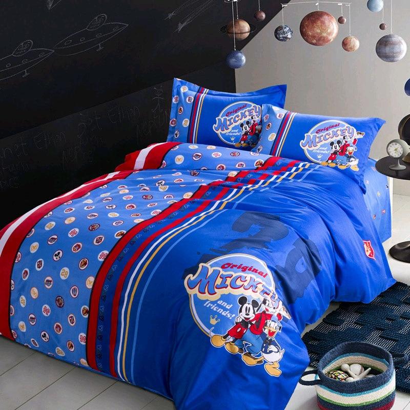 مفرش سرير قطني مخطط ميكي ماوس ديزني ، غطاء لحاف وأكياس وسائد للأطفال ، غطاء سرير مزدوج/كامل