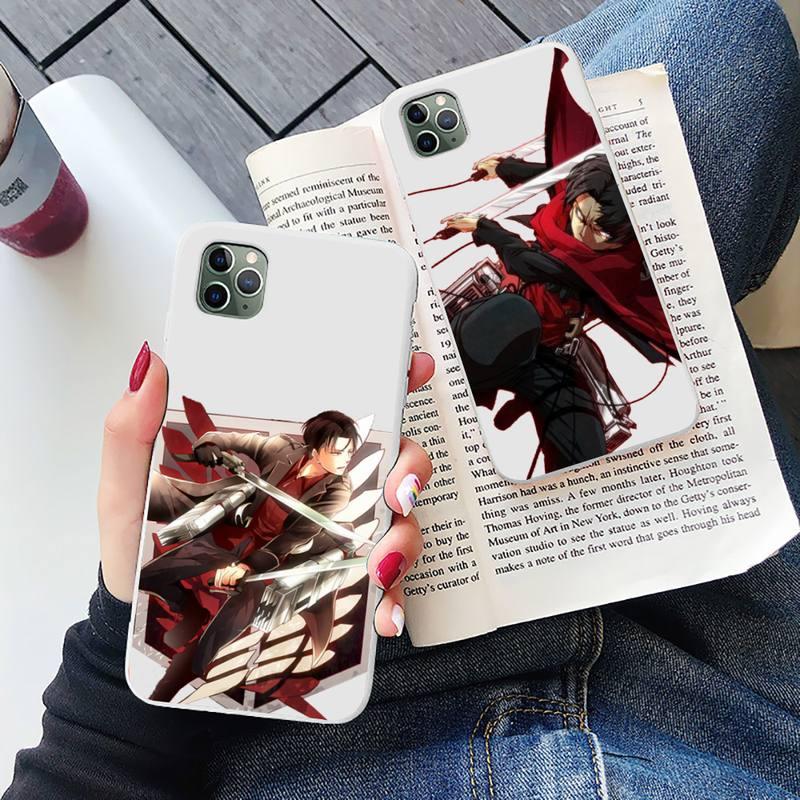 Attack on Titan Levi Rival Phone Case Candy Color for iPhone 6 6S 7 8 11 12 XS X SE 2020 XR mini pro Plus MAX funda