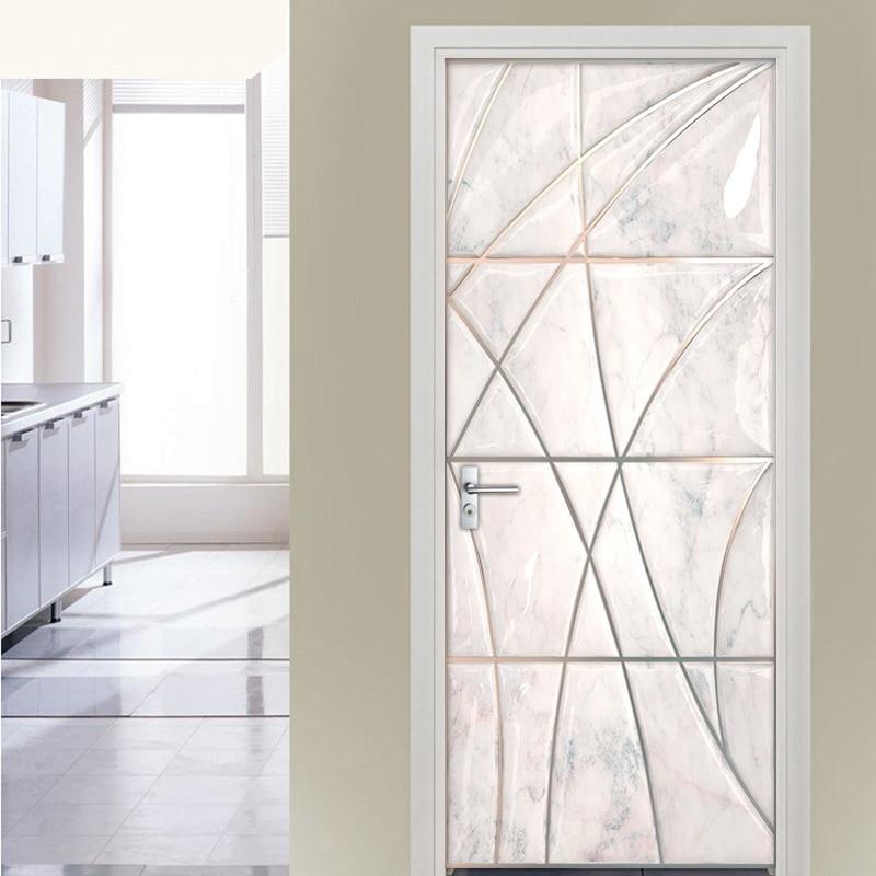 3D Door Sticker PVC Waterproof Self Adhesive Marble Geometric Art Mural Wall Decals Living Room Bedroom Door Stickers Wallpaper rock wall patterned door art stickers