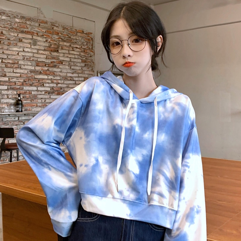 Pull fin court teint par nouage pour femme, petit manteau Vintage, ample, Style inactif, mode coréenne Ins, printemps et automne