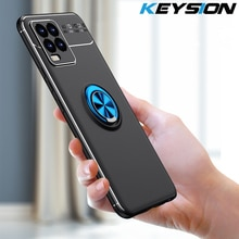 KEYSION Shockproof Phone Case For Realme 8 8 Pro Silicone Metal Ring Stand Phone back cover for OPPO Reno 5 Pro Lite 5F 5K 5Z 5G