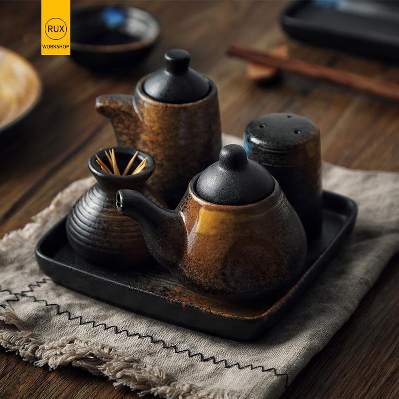 RUX керамические чашки приправа консервированная бутылка с соевым соусом держатель зубочистки банка для перца чайник для специй посуда Ресторан