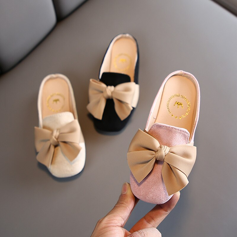 Niños bebés niños niñas moda Bowknot cerrado superior Zapatillas Zapatos casuales Slip-On zapatillas chica Pantufla para interior o exterior