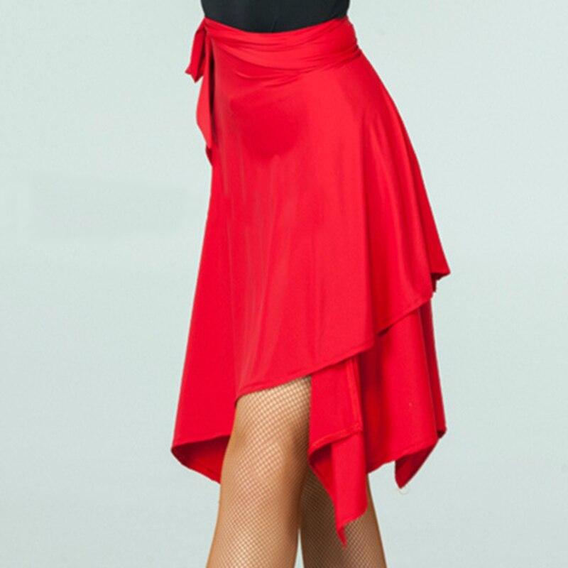 Irregular Latin Dance Skirt For Ballroom Tango Chacha Dancing Women Lace-up Pure Color Elegant