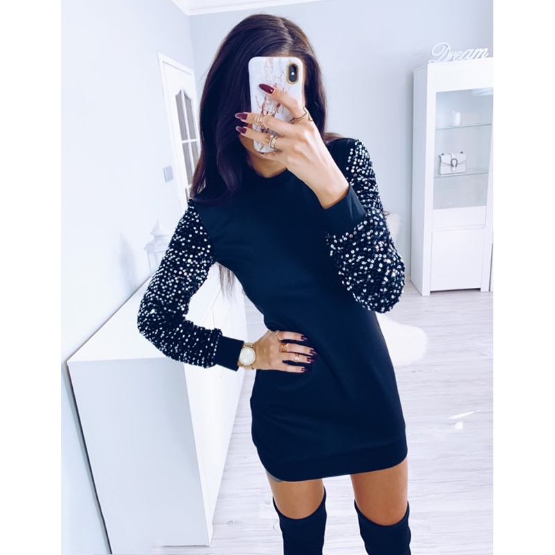 Mujeres embellecido manga empalmado Mini vestido de manga larga cuello redondo vestido Casual moda de invierno Vestidos Streetwear