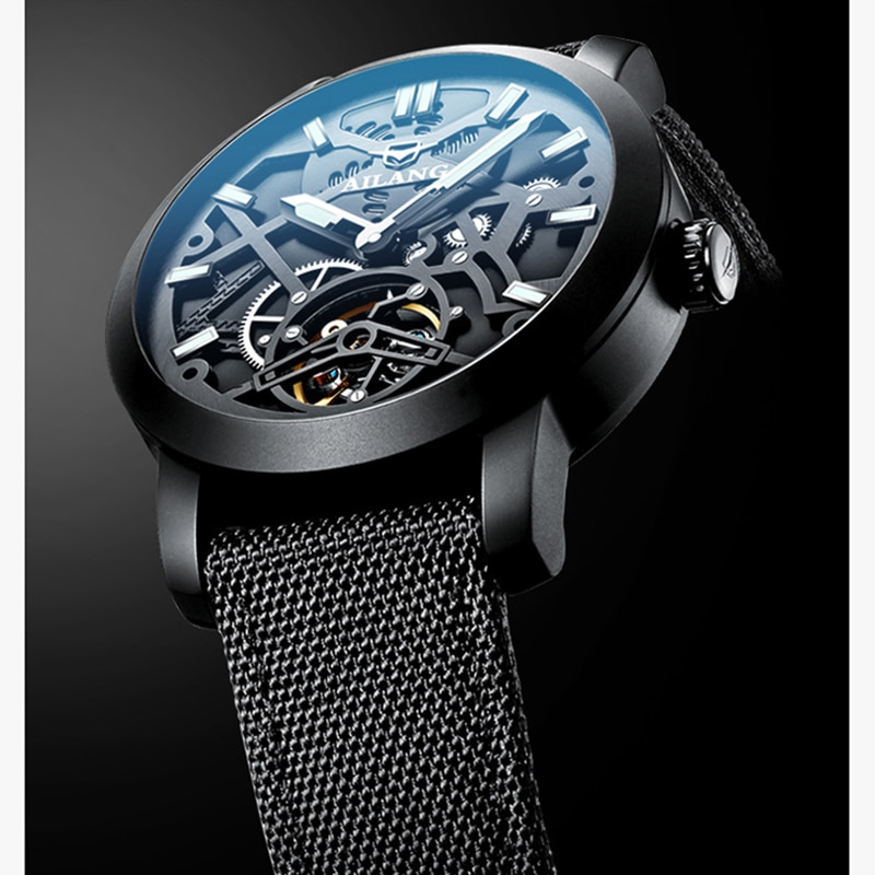 AILANG luxury skeleton mechanical watch automatic brand business simple men's watch luminous waterproof high quality watch enlarge