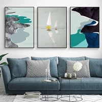 abstract blue seascape art design wall painting sailboat home minimalist decoration nordic style canvas frameless printed poster