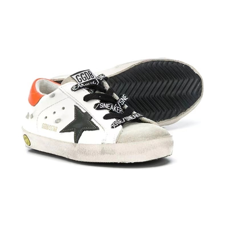 Spring /Summer New First Layer Cowhide Kid Old Small Dirty Shoes for Boys and Girls Casual Orange Tail Children's Shoes CS137 enlarge