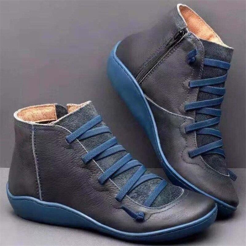 Botas de Neve Botas com Pele Rendas até Botas 2021 para as Mulheres Mulher Inverno Genuíno Couro Tornozelo Primavera Sapatos Planos Curto Vintage