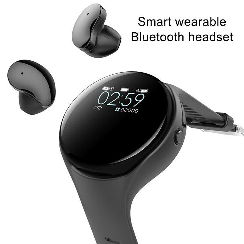 Fones de Ouvido sem Fio Pedômetro para Ios 2 em 1 Pulso Bluetooth Fone Música Tela Colorida Esportes Relógio Android Moda Tws