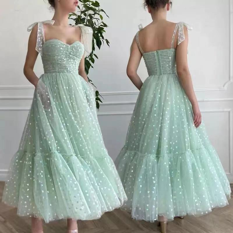 New Mint Green Dots Stars Tulle A Line Prom Dresses Pockets Bow Ties Up Straps Tea Length Formal Par