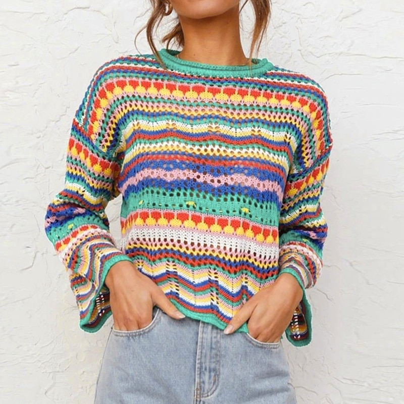 aelorxin 2017 women sweaters and pullovers thick autumn winter casual full sleeve o neck fashion women sweater girls sweaters Vintage Sweater Y2K Women Jumpers Long Sleeve Stripes O-Neck Casual Sweaters Rainbow Knit Pullovers 2021 Autumn Winter Knitwear