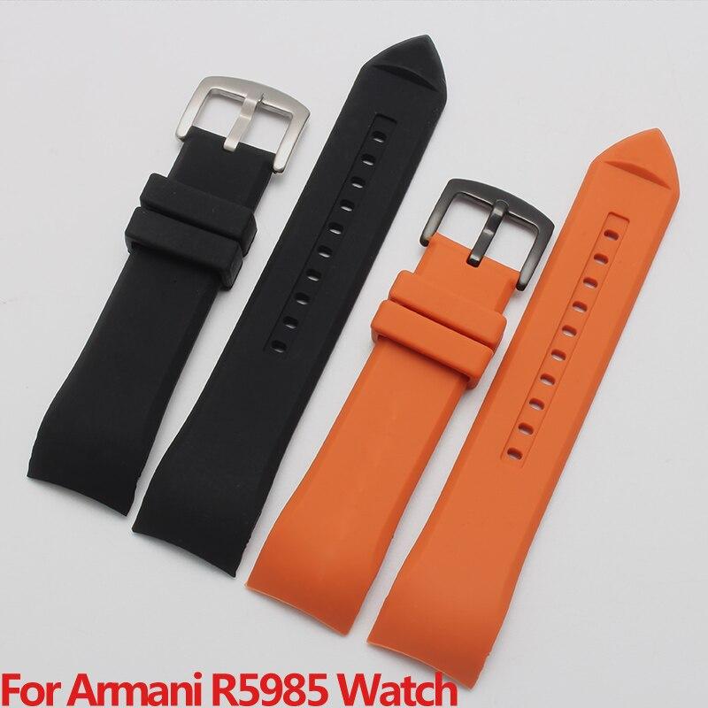 Reloj de buceo Shengmeirui de goma negra y naranja de 23MM con Armni AR5985 AR5977AR5987 AR5978 Series