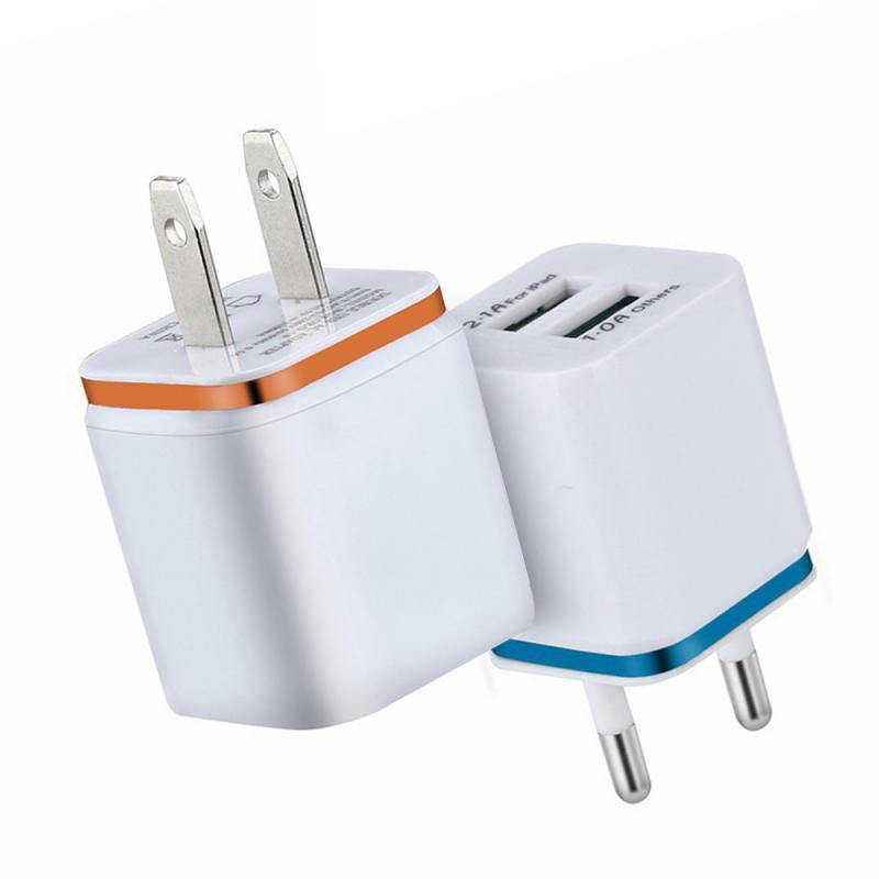 Универсальное зарядное устройство с двумя USB-портами, 2,1 А, быстрая зарядка, вилка стандарта ЕС/США, портативный настенный мобильный телефон, зарядное устройство для IPhone, Huawei-0