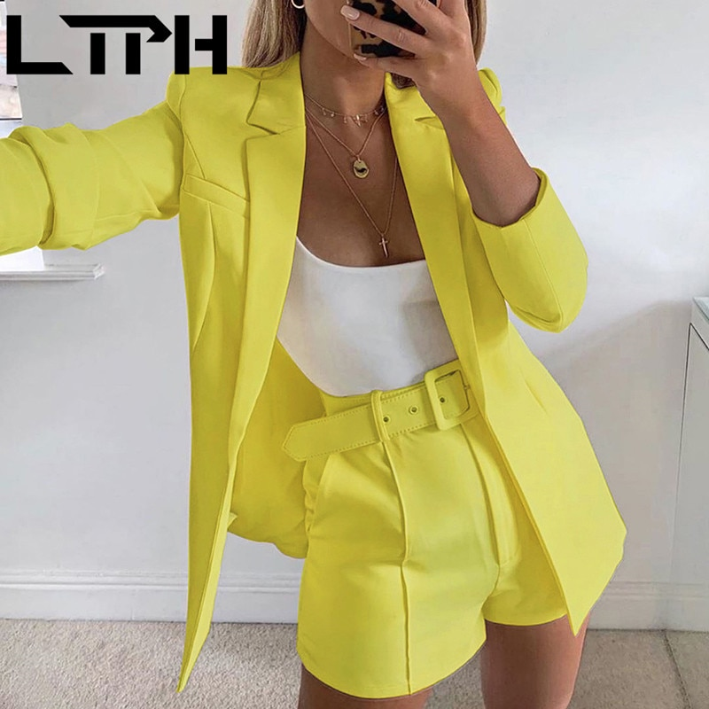 LTPH Hot sale 2020 New Women Sets Autumn long sleeve cardigan Blazer shorts solid two-piece Lady Casual Short Suits Clearance