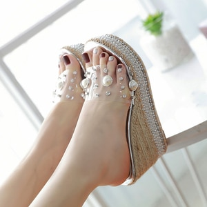 Summer Fashion Platform Muffin Thick Bottom Open Toe Pearl Super High Heel Sandals Women