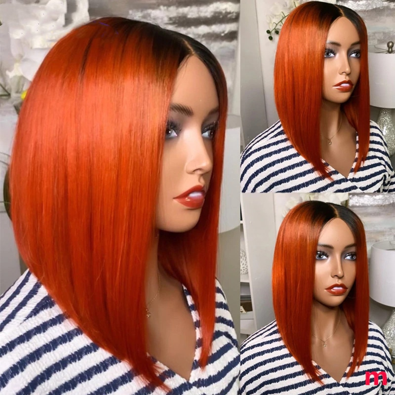 Ombre 1B Orange Short Bob Brazilian Lace Front Human Hair Wig Ombre Orange Ginger Color Straight Human Hair Wigs 180 Density