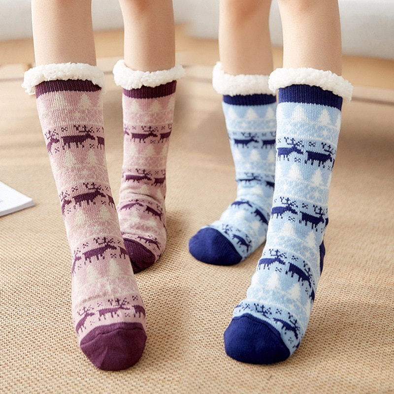 1 Pair Women Indoor Floor Socks Warm Stretchy Non-slip for Winter Christmas Home J55