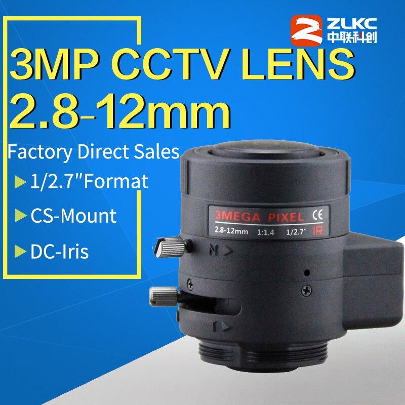 Montagem varifocal f1.4 do cs da lente 3.0-12mm do cctv de 2.8 megapixels para 720 p/960 h/1080 p/3mp/ip/caixa da lente da câmera