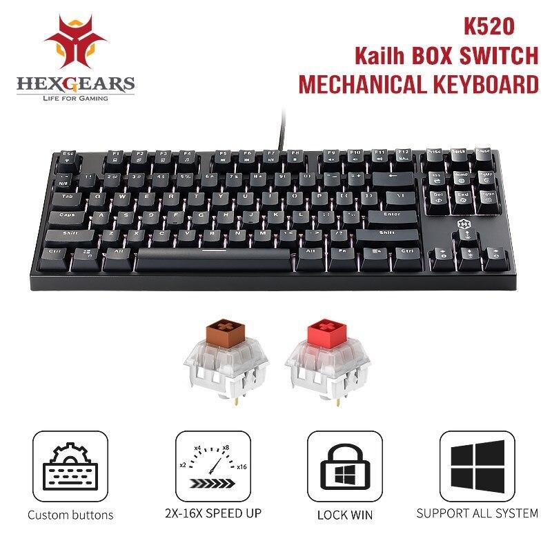 Get HEXGEARS K520 87 Keys Gaming Mechanical Keyboard Waterproof kailh box Switch single backlit Keyboard for Tablet Desktop Russian