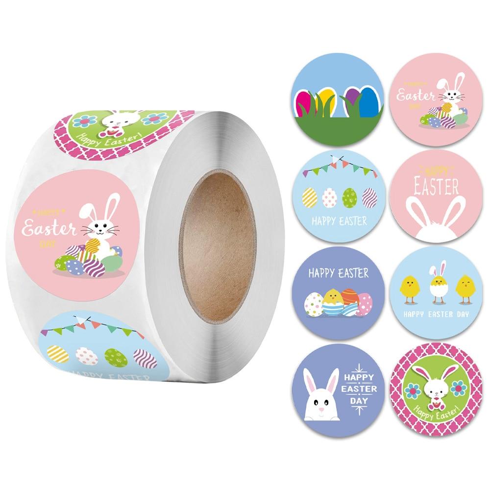 500Pcs Cartoon Rabbit Happy Easter Stickers For Gift Bag Box Envelope Round Seal Label Sticker Easter Decor Handmade Sticker pewter rabbit jewelry box silver czech crystal rabbit figurine box antique decor rabbit best birthday gifts