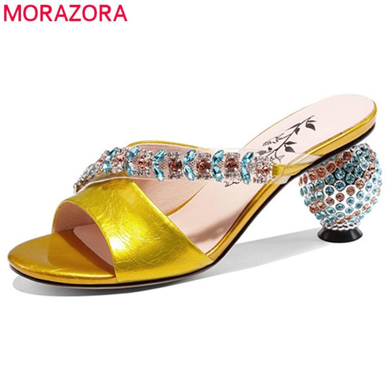 MORAZORA-صندل نسائي من الجلد الطبيعي بكعب عالٍ مرصع بالكريستال ، حذاء زفاف ، صيف 2021