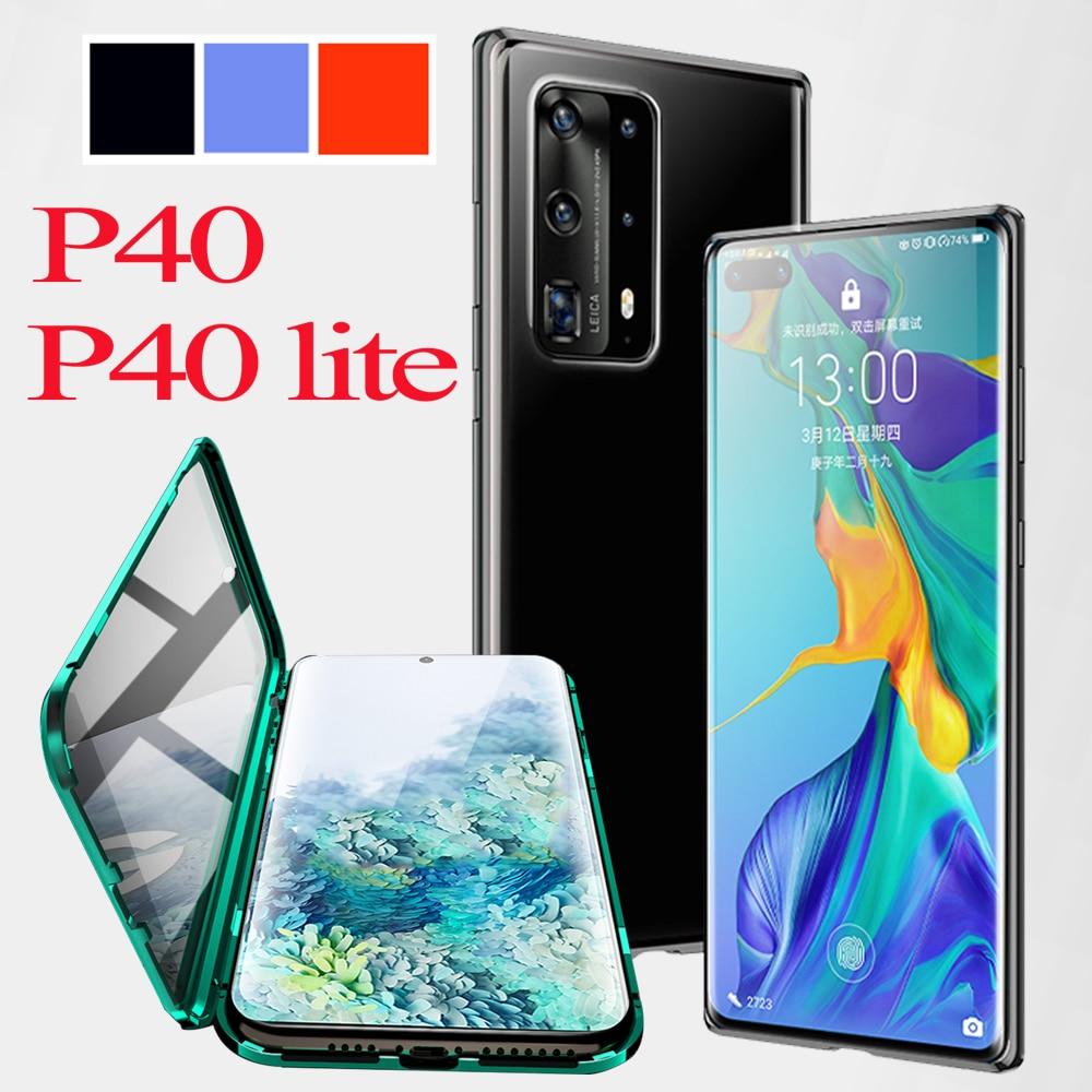 Para Huawei p 40 lite funda p40 lite funda de teléfono huavei nova 6 se 7i p40 luz lit parachoques hauwei coque protector de pantalla de lujo