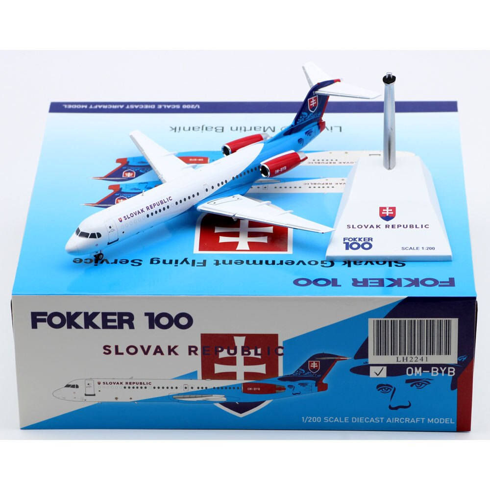 1:200 Alloy Collectible Plane JC Wings LH2241 Slovak Republic Slovakia Government Flying Fokker100 Diecast Aircraft Model OM-BYB