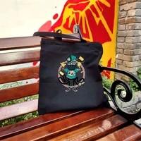 canvas cartoon print one shoulder shopping bag eco friendly foldable portable high capacity storage bag unisex travel organizer