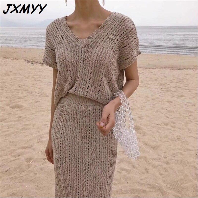 السيدات الصيف 2-قطعة مجموعة 2021 السيدات الخامس الرقبة قصيرة الأكمام أعلى وأنيقة الكورية محبوك طويلة تنورة سترة مجموعة JXMYY