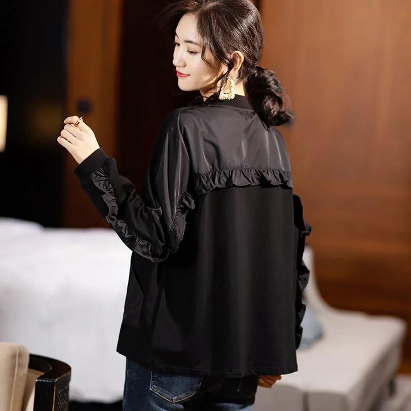 خليط الكشكشة حجم كبير سترة المرأة عادية فضفاض كم طويل الرمز الهاتفي معطف الإناث الربيع موضة الأسود البيسبول ملابس خارجية