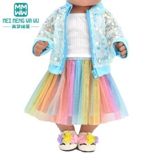 Baby clothes for doll fit 43 cm new born doll accessories Fashion sequined jackets and dresses Chris