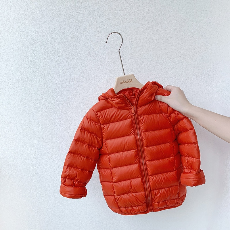 Children's Thin and Light Style Can Store Down Jacket Boys and Girls Autumn and Winter Lightweight J