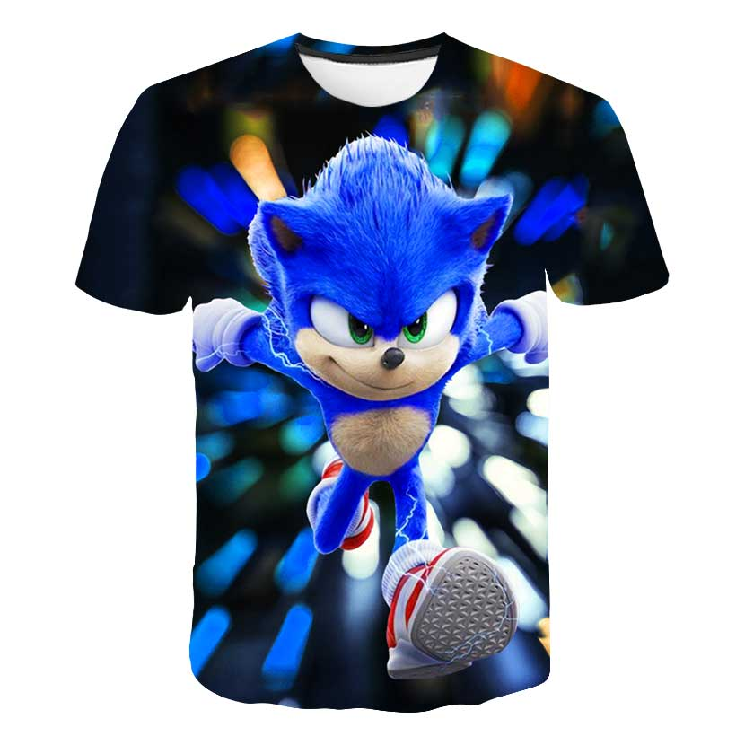 Summer Children Short Sleeve T-Shirts Kids Cartoon Supersonic Sonic Print Boys Girl Tops Tee Super Sonic T Shirts Baby Boys glamglow gravity sonic blue t