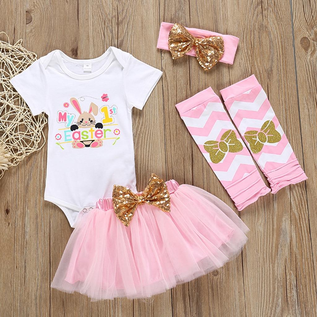 Newborn Clothes Sets 4Pcs Infant Baby Girls Easter Rabbit Bunny Romper Bodysuit Tutu Skit Set Lovely Girl Suit roupa infantil