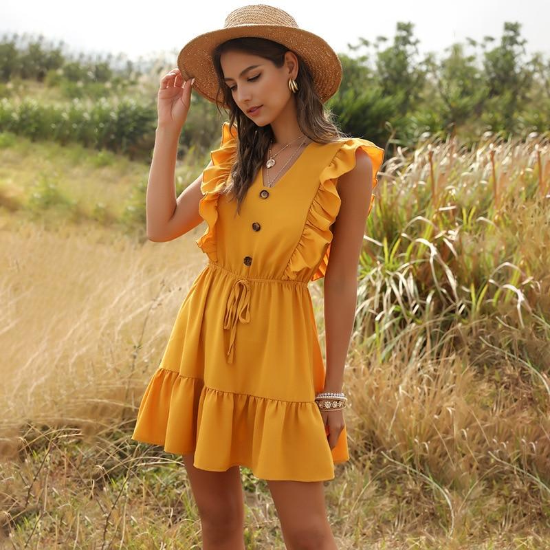 ZOGAA Women Summer Dress Casual Boho Beach Ruffles 2021Mini Party Sexy V-Neck High Waist Female Dresses