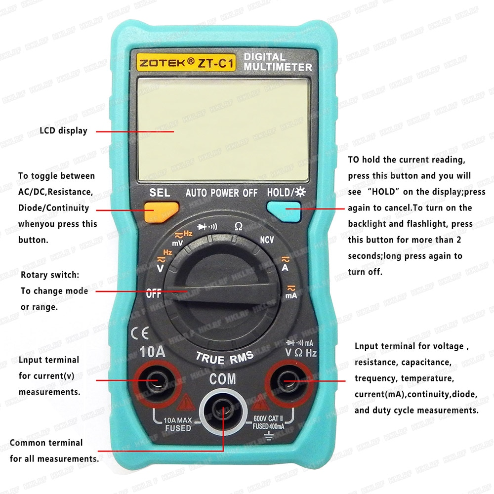 ZOTEK ZT-C1 Manual Automático Digital Grande Ecrã LCD Display digital AC DC Multímetro