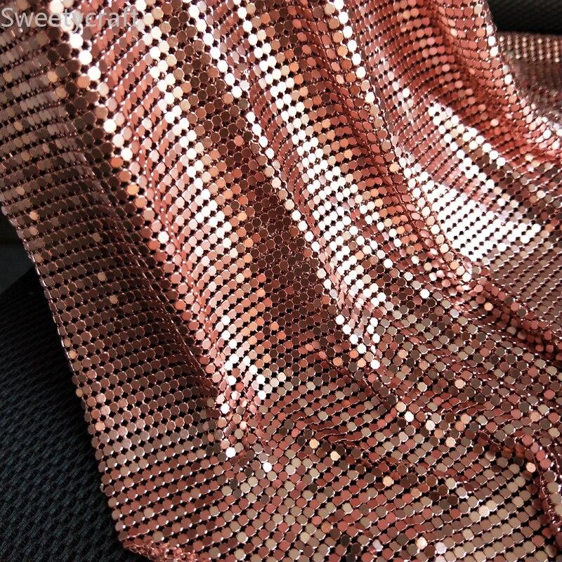 45*150cm Rosa oro Flexible de aluminio lentejuelas Malla tela Chainmail tela para la mesa de tela Chainmail cortinas Sexy vestido de Cosplay
