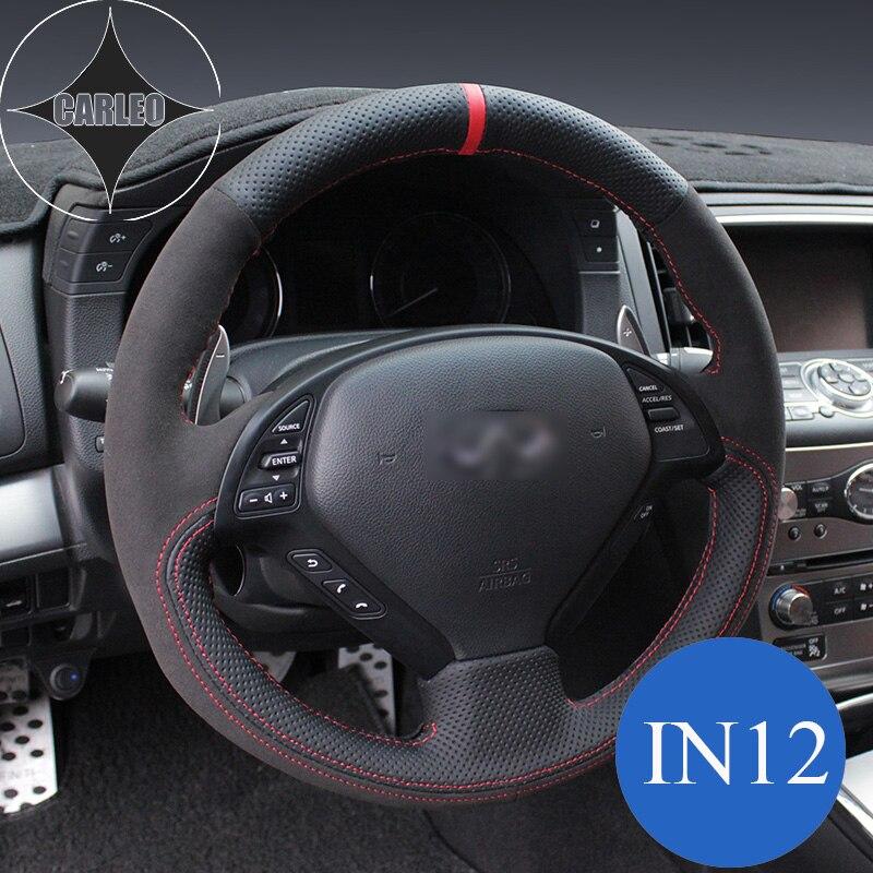 Car Steering Wheel Cover for Infiniti Q50L Q60 Q70 FX35 EX25 G37 QX50 Q30 Genuine Suede Leather Stitching Customized Holder