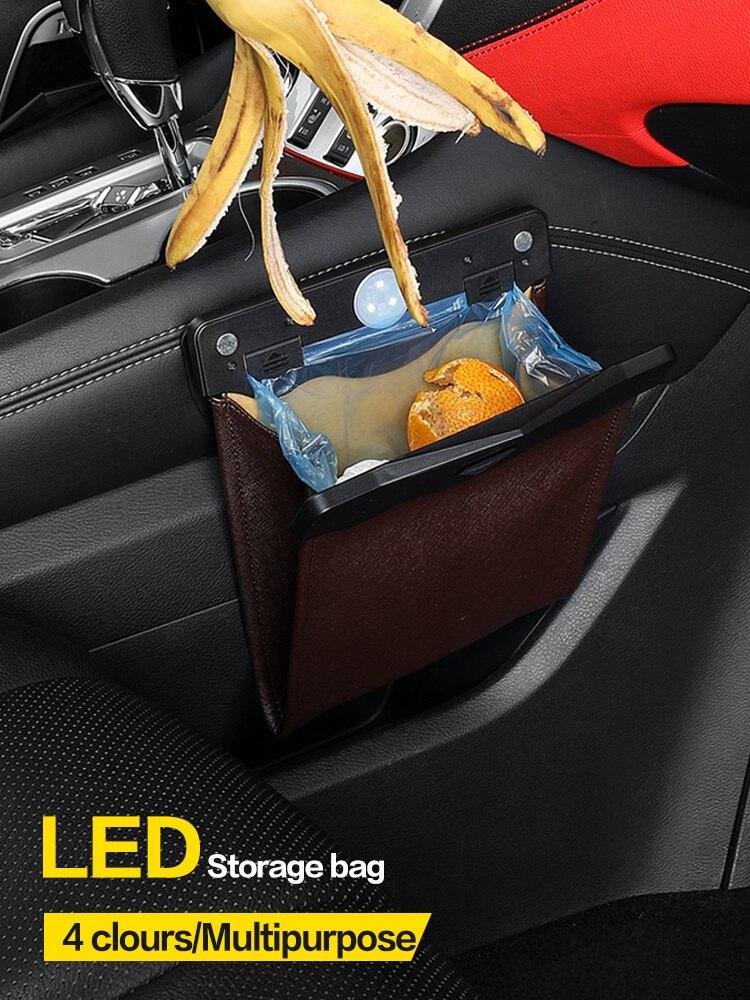 LED Car Trash Can Organizer Garbage Holder Automobiles Storage Bag Accessories Auto Door Seat Back V