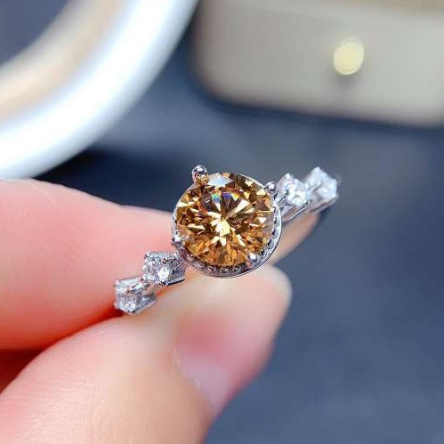 Luxury 925 Sterling Silver Female Champagne Stone Ring Fashion Diamond Finger Wedding Rings For Women Engagement