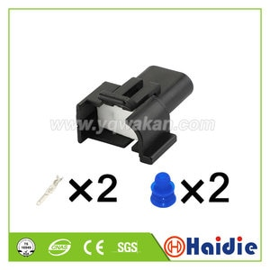 Free shipping 5sets 2pin unsealed housing plug wire harness electrical plug connector