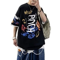 mens t shirt casual loose crewneck t shirt men harajuku oversized tees japanese streetwear hip hop black t shirts tops s 3xl