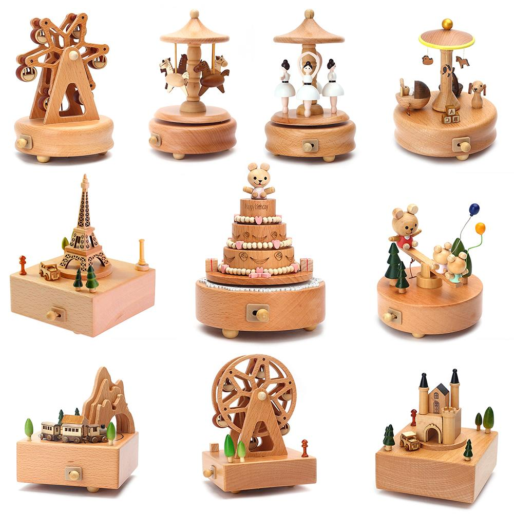 Carousel Musical Boxes Wooden Music Box Wood Crafts Retro Birthday Gift Vintage Home Decoration Acce