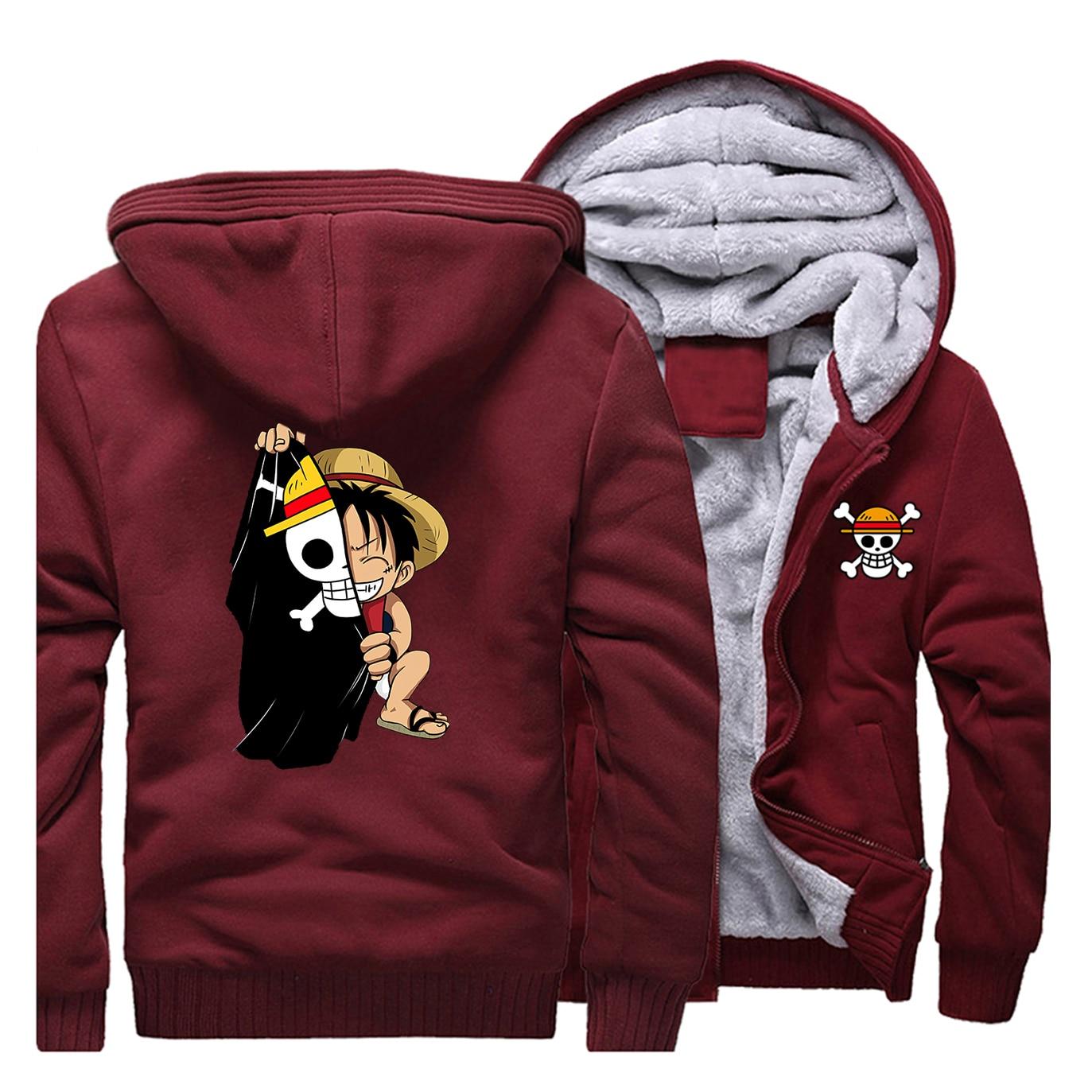 Japanese Anime Luffy Print One Piece Men's Hoodies Streetwear 2019 Winter Warm Sweatshirts Harajuku Coats Outerwear Funny Jacket